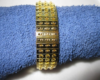 Pkg 3 - 7 Inch Triple Row Gold Plated Steel Stretch Cha Cha Bracelet