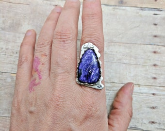 Purple Charoite Scalloped Sterling Silver Ring Custom Sized, 6 7 8 9 10, handmade gift for her, spring fashion, purple, ultraviolet, violet