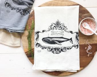Tea Towel - Whale Tea Towel Nautical Decor Kitchen Towel Beach Decor Kitchen Towel French Country French Tea Towel Coastal Decor Summer