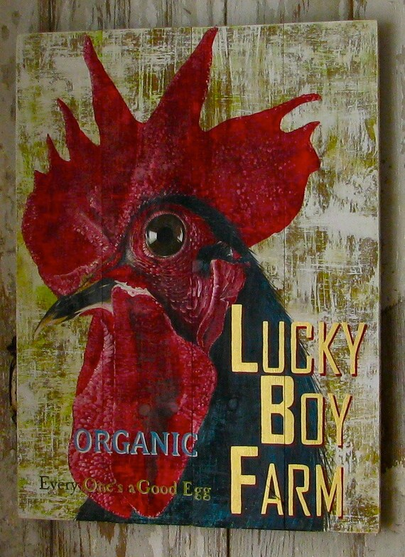 Rooster original acrylic painting Farm Illustration Lucky Boy Farm on solid wood plank panels
