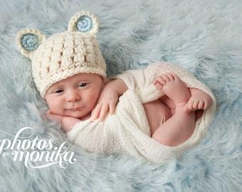 Baby Boy Hat, Baby Boy Beanie, Bear Hat, Baby Newborn Hat, Newborn Prop, Crochet Baby Hat, Newborn Beanie, Off White Blue, Newborn Boy Hat