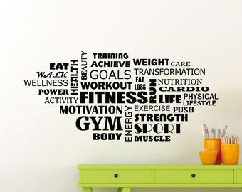 Fitness Wall Decal Wellness Word Cloud Gym Motivational Vinyl Sticker Sport Workout Poster Home Room Inspirational Art Decor Mural 123gy