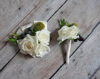 Wedding Boutonniere and Corsage Set - Ivory Rose, Berry, and Thistle Boutonniere and Corsage
