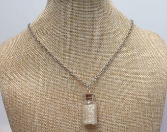 White glitter glass vial necklace jewelry