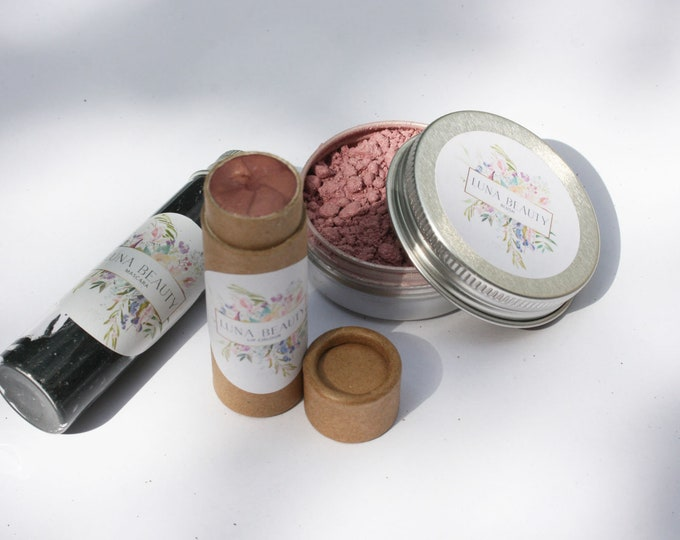 Featured listing image: Spring pink makeup set. Zero waste and vegan, cruelty and plastic free beauty.