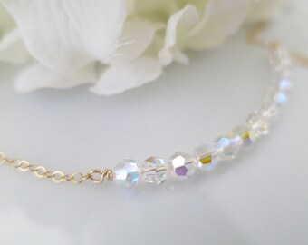 Simple crystal necklace, Dainty necklace, Gold bridal necklace, Swarovski crystal necklace, Petite necklace, Bridesmaid necklace