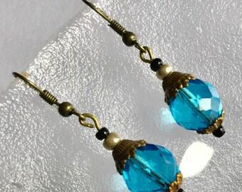 Vintage blue glass bead Bronze, black pearl earrings