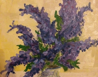 Lilacs--Original oil painting, oil on canvas, still life, 16 x 20