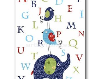 Digital Alphabet Nursery Alphabet Elephant Nursery Wall Art Baby Boy Nursery Art Playroom Print INSTANT DOWNLOAD 8X10 Navy Green Blue Red