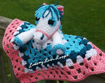 HORSE Child's Security Baby Blanket Lovie Handmade Crochet Custom Colors. Free Shipping!
