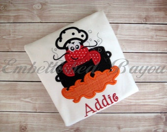 Crawfish Boil Applique T-shirt or Onesie for Girls or Boys Personalized