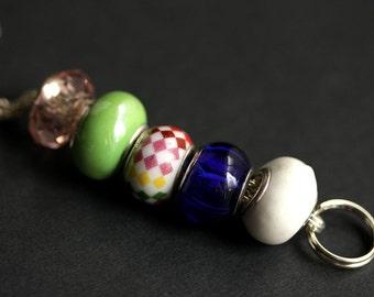 Badge Holder. Cobalt Blue Green and Pink Badge Lanyard. Id Lanyard. Handmade Lanyard. Beaded Badge Necklace. Rainbow Lanyard. Badge Leash.