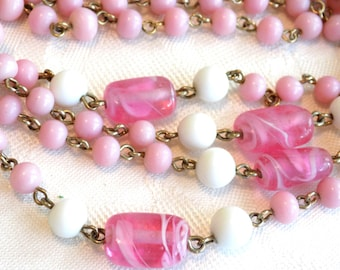 Vintage Coro Beaded Necklace Pink and White Milk Glass Beads and Swirled Pink Glass Barrel Beads 30 in. Signed Coro