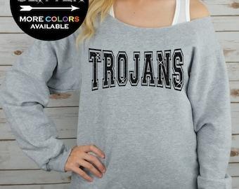 TROJANS Off Shoulder Raw Edge Sweatshirt for Women // GLITTER // Mascot Sweatshirt, Football Shirt, Sports Tee, Plus Sizes (Black Glitter)
