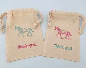 Horse Party Favor Bags with Pretty Horse design; Equestrian Party Favor Bag