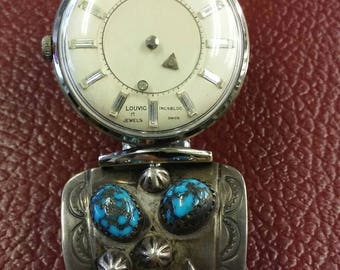 Louvic Men's Watch, Mystery Dial, Dual Sided Reversible Face, Vtg 50s, 17 Jewels, Floating Simulated Diamonds, Sterling Turquoise Coral Band