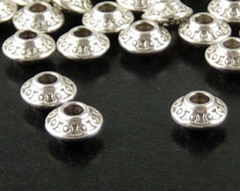 CLEARANCE Bead Spacer 100 Antique Silver Bicone Saucer 6mm x 4mm NF (1111spa06s1)os