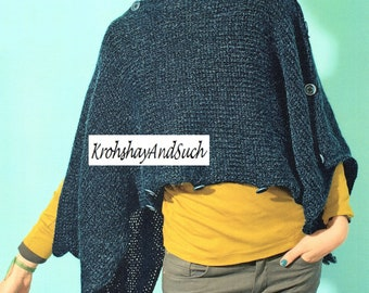 Poncho, Beginners, Easy And Quick Knit, Plus Sizes, Knitting Pattern. PDF Instant Download.