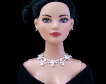 "Rhinestone Doll jewelry for Tonner American Model, BJD,  and other 22"" fashion dolls by SohoDolls, necklace and earrings"