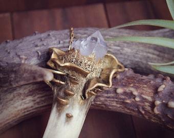 Raw Crystal Necklace, Raw Quartz Necklace, Antler Tip Necklace, Real Antler Necklace, Deer Antler Jewelry, Goth, Gothic