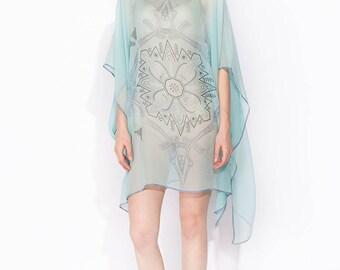 100% silk Boat-necked Short Silk Kaftan 109x86/ No (7) mandala VIETNAMtransparent silk georgette