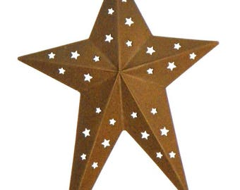 """Rusty Metal Primitive Star with Star Cutouts, 8"""" Folk Art Star with Metal Loop for Hanging, Add to Wreaths, Garlands, Trees, Shaker Pegs"""