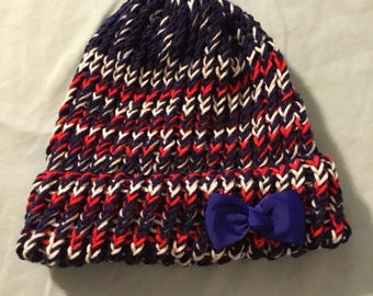 Red white blue Vera gated beanie with clip on bow