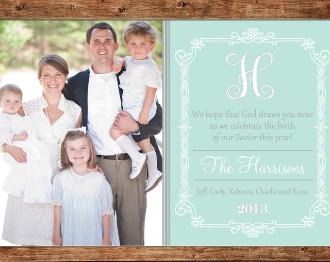 Christmas Holiday Photo Card Mint Elegant Traditional - Can Personalize - Printable File or Printed Cards