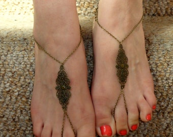 Bohemian  barefoot sandals, Bronze  barefoot sandals, Ankle slave foot, Barefoot sandals UK,  Bare foot sandals