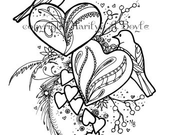 ADULT COLORING PAGE; hearts, digital download, original drawing, pen and ink,