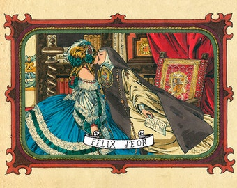 Sor Juana y La Virreina Lesbian Nun Poet Feminist Mexican Queer LGBT Art Felix d'Eon - Print