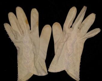 Vintage Hand-beaded Gloves (sz 6) NM001
