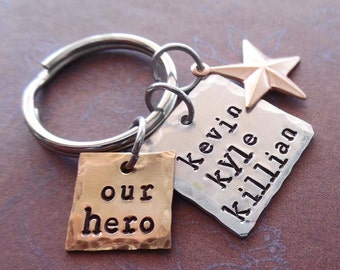 Our Hero Dad Keychain - Personalized Names Hero Star Nautical -  Man Dad Father gift - Hero Dad Fathers Day Personalized Keychain-  K86