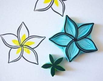 Plumeria flower rubber stamp, hand carved, scrapbooking supply, wedding decor, flower stamp