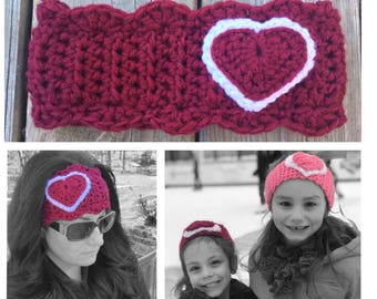 Heart Headband Crochet Heart Ear Warmer Heart Headband with Heart