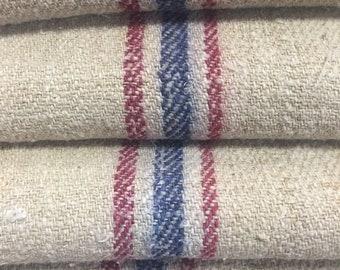 "Extra Long Vintage Grain Sack 19.5"" x 57"" Red and Blue Stripes Woven Linen Hemp Blend - 567"