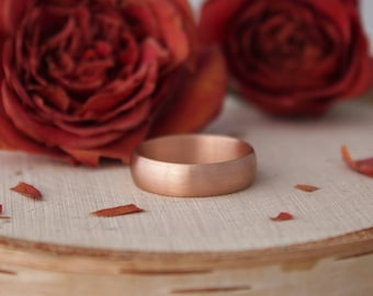 5mm Wide 14k Rose Gold Band, 5mm Wide Handmade Gold Band, Wedding Band, Brushed Gold, Minimalist, Simple, Ready to Ship Gold Ring