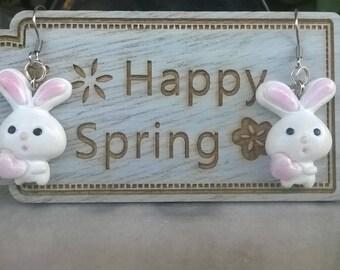 Bunnies in Love/ handmade Earrings / Polymer Clay