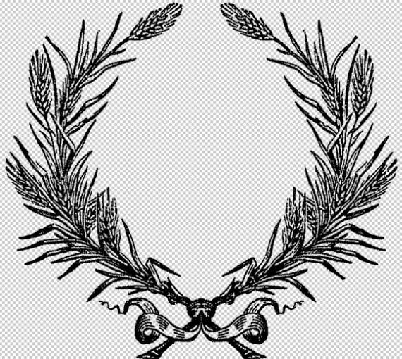 Wheat Wreath Border Frame Antique Vintage Clip Art