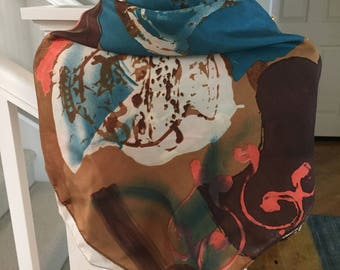"""90's Vintage Silk Scarf, Brown, Teal, Pink, Abstract Print Scarf 34"""" Square"""