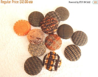 CLEARANCE - 12 wool orange mix fabric covered buttons, size 75