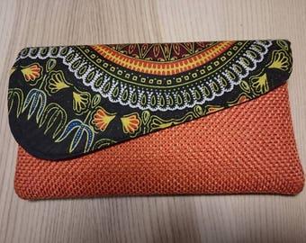 Orange and black Kikoy Purse, African print zipper clutch,   Kenyan Tribal Print bag,  Afrocentric Clutch,  Ethnic Clutch, Zipper Pouch