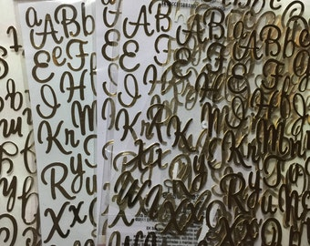 press On scrap booking supplies, gold  letters, card making supplies  11 sheets gold