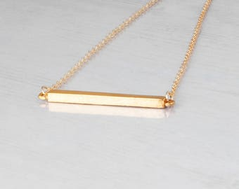 Gold Necklace Dainty, Gold Bar Necklace, Minimal Gold Necklace,  Skinny Bar Pendant, Delicate Necklace, Layered Necklace, Sterling Silver