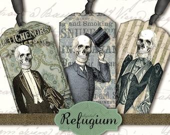 digital tags  INSTANT DOWNLOAD courtesy skull Digital Collage Sheet