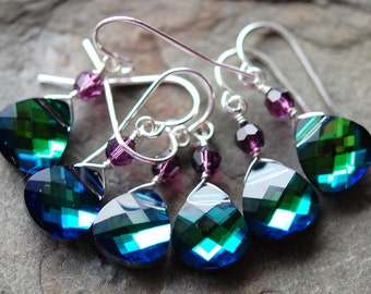 Set of 8 Pair, Peacock Bridesmaid Earrings, Blue Green Swarovski Crystal, Choose your Accent Color, Sterling Silver Wire Wrapped