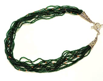 Beaded Necklace of Forest Green with Orange Accent Beads and Toggle Closure