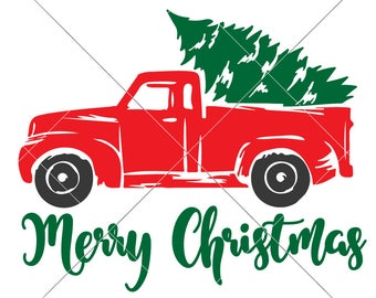 Merry Christmas little red Truck with Tree SVG dxf File for Cutting Machines like Silhouette Cameo and Cricut, Commercial Use Digital Design