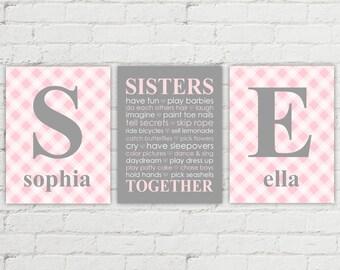 twin nursery decor | twin baby gifts | twin girls first birthday gift | baby shower gift | pink gray nursery decor | subway sisters wall art