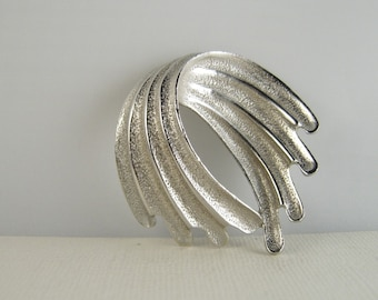 Vintage Modernist Silver Brooch Pin Abstract